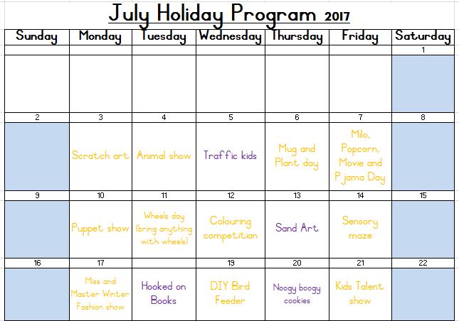 Holiday program 3 21 july 2017 kinder college in for Extra mural program