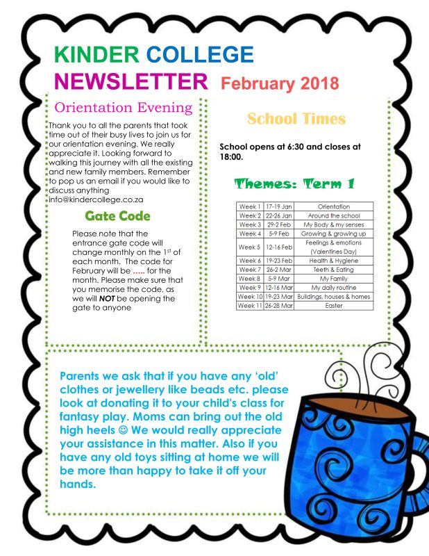 february 2018 newsletter kinder college in alberton new redruth